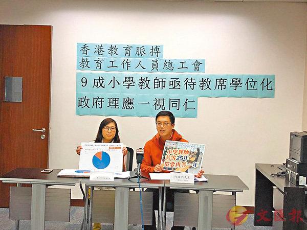 ■余綺華(左)認為,教育局應對教育工作者締造公平的工作環境,盡快實行全面學位化。教育工作人員總工會供圖