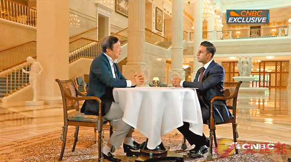 ■華為CEO任正非近日接受CNBC採訪。 網上圖片