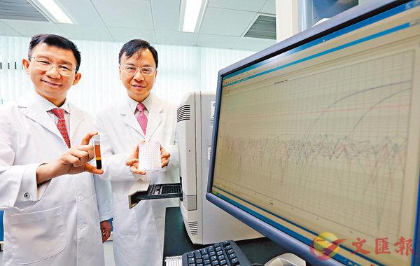 ■陳君賜(左)與盧煜明(右)的項目,透過分析血漿內EB病毒DNA,及早診斷出鼻咽癌。 中大供圖