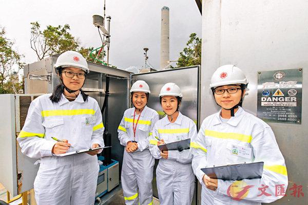 ■陳倩妮(左)和郭鈞澄(右)在港燈環境工程師的指導下,記錄空氣質素數據。 作者供圖