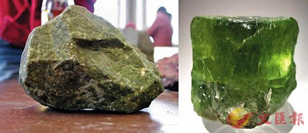 橄欖岩(左)中含有大量橄欖石(右)。 網上圖片