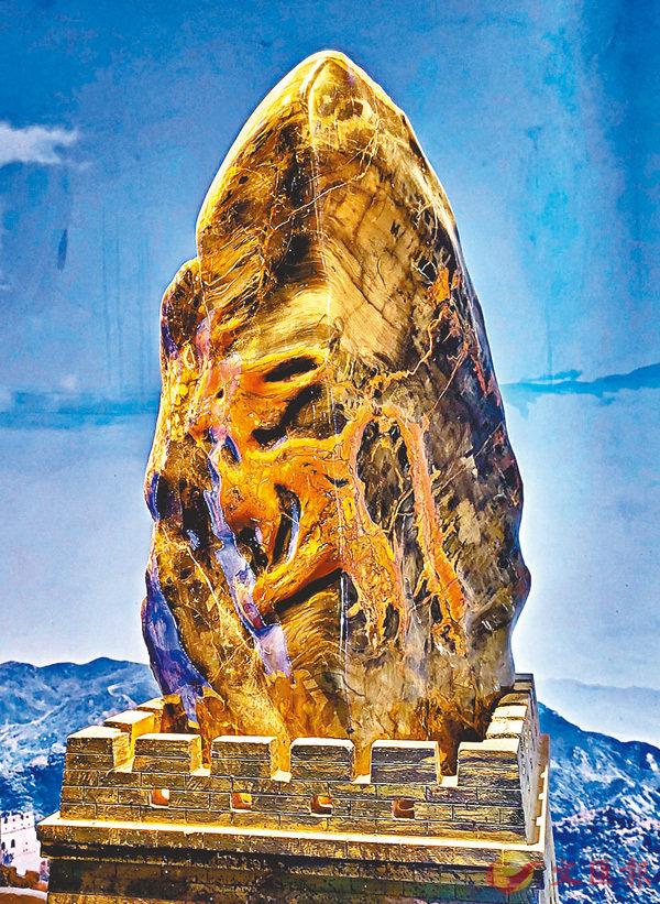 ■濟贊堂「鎮館之寶」 -  木化石紅金龍。 香港文匯報記者宋偉 攝