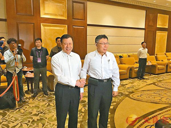 ■上海市市長應勇會見並宴請了柯文哲一行。香港文匯報記者張帆 攝