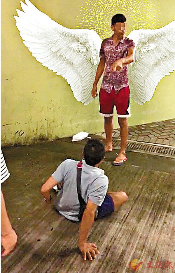■ 有反對派網民改圖「歌頌」暴力傷人的南亞裔青年。網上圖片