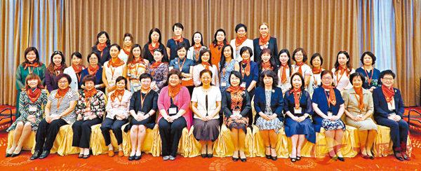■全國婦聯副主席夏杰與中總婦女委員會訪問團全體成員合照。