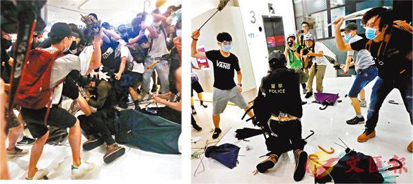 ■當晚一班暴徒不斷用傘柄狂毆一名警察。 資料圖片
