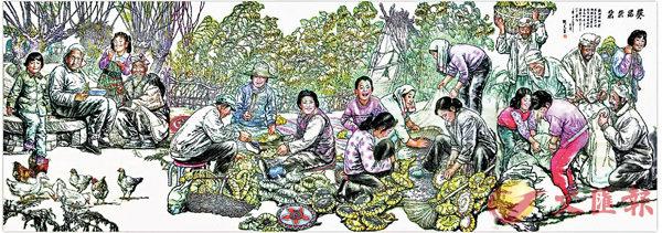 ■劉文西百米長卷《黃土地的主人》之《葵花朵朵》。