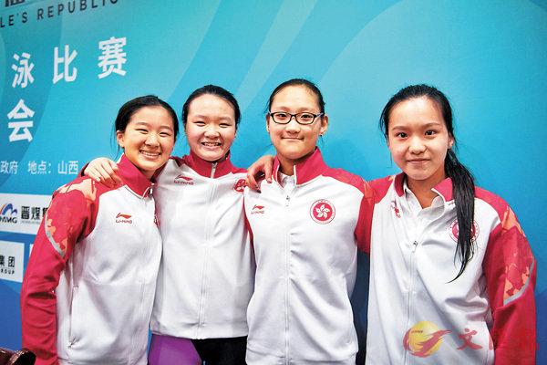 ■破紀錄的四小妮:謝安晴(左起)、鄭渝、馮雪瑩及劉平兒。 中新社