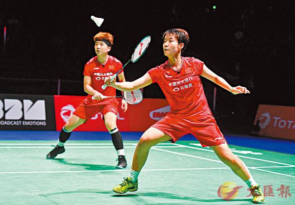 ■杜玥(右)/李茵暉在比賽中。   新華社