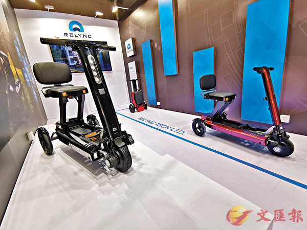 ■匠造節現場展示的便攜助力車。香港文匯報記者帥誠  攝