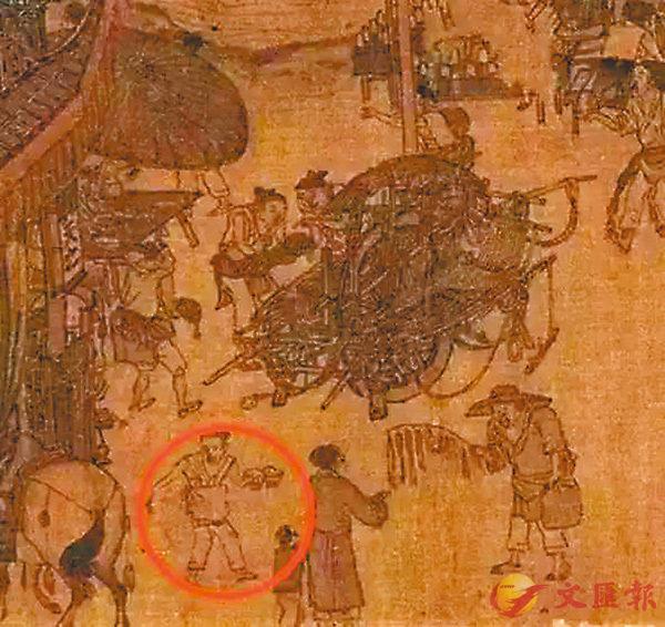 ■ 《清明上河圖》中描畫的送外賣小夥計( 紅圈示 )。 網上圖片