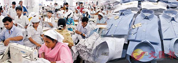 ■孟加拉擁有大量廉價勞動力,吸引不少跨國公司設廠。 資料圖片