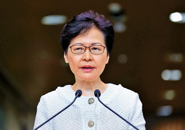 ■林鄭月娥指出,暴徒對港鐵站的瘋狂破壞,已經遠遠超越反修例或示威訴求。香港文匯報記者攝