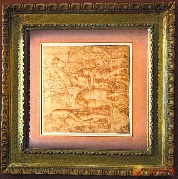 ■《凱撒勝利凱旋》褐色墨水鋼筆畫。