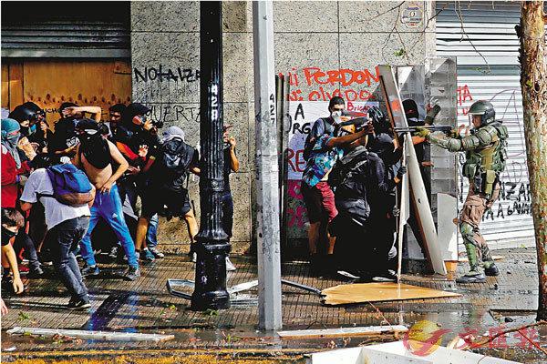 ■智利因地鐵加票價引發連日示威。 路透社