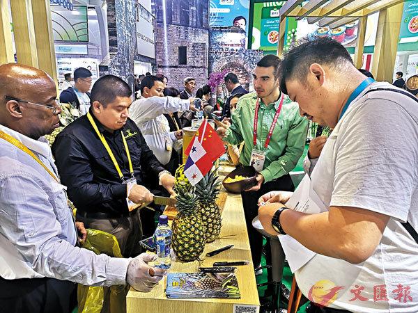 ■第一次來到中國的巴拿馬菠蘿吸引了中外買家爭相品嚐。 香港文匯報記者倪夢璟 攝