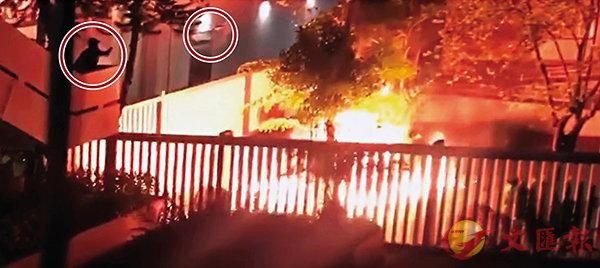 ■暴徒當晚向荃灣裁判法院投擲汽油彈(紅圈示)。