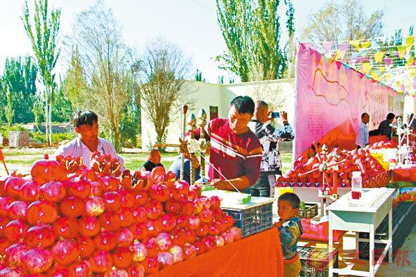 ■ 新疆喀什的石榴熟了。入秋近冬時,一波「新疆味道」開始「霸屏」阿里巴巴等電商平台。 網上圖片