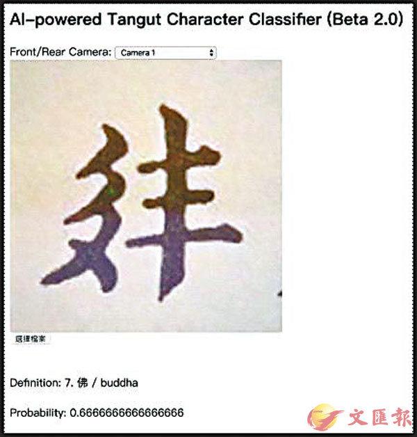 ■「西夏文字翻譯器」介面。 作者供圖
