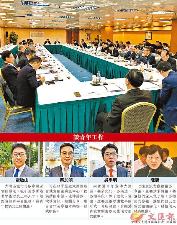 ■ 在廣東省政協十二屆三次會議上,港區委員小組討論,重點關注青年工作。 香港文匯報記者敖敏輝  攝