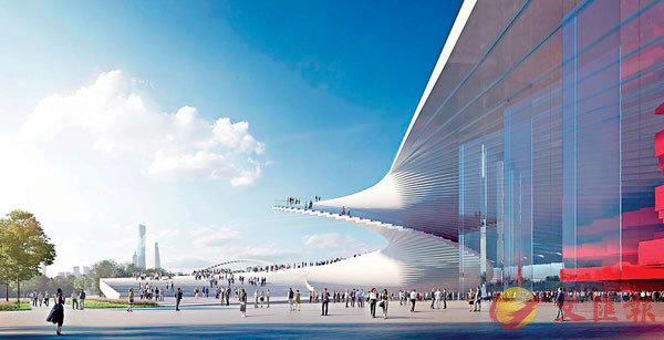 ■在建的上海大歌劇院概念圖,形狀像一把中國扇。