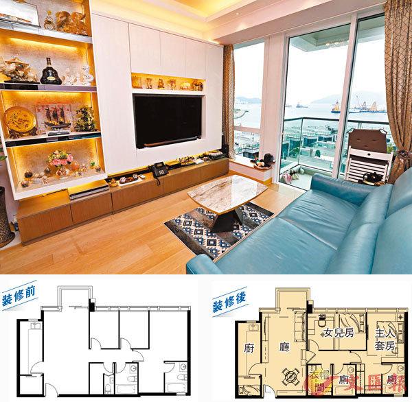 ■ 客廳設一個大型白色組合櫃,上面有條子花紋,與另一面牆相呼應。香港文匯報記者攝