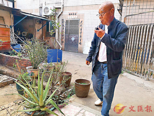 ■文琰森在院子裡種植各種草藥。 香港文匯報記者石華  攝