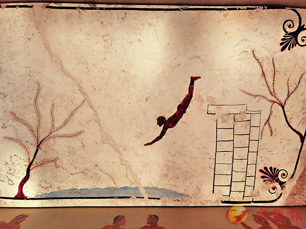 ■通過高科技手段生動還原的《跳水者之墓》壁畫