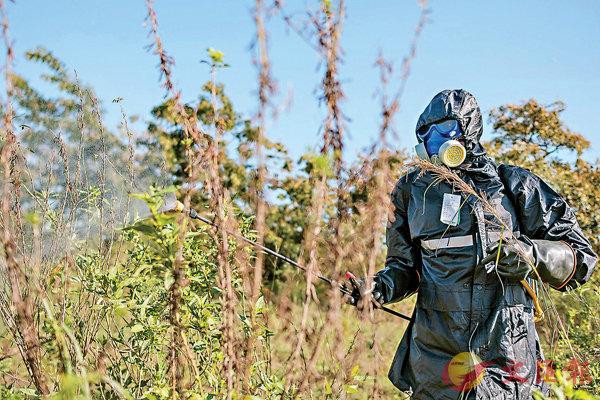 ■ 烏干達派軍人噴灑殺蟲劑。  法新社