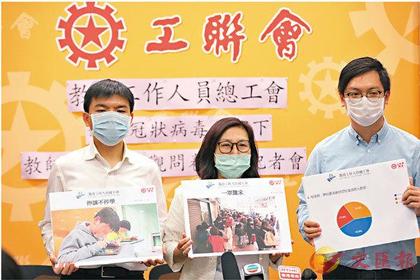 ■教總公佈問卷調查結果。左起︰林伯強、余綺華、何啟明。香港文匯報記者  攝