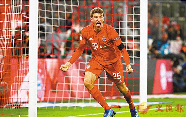 ■今季回勇的湯馬士梅拿於上仗助拜仁先破大門,只是被判入球無效。  路透社