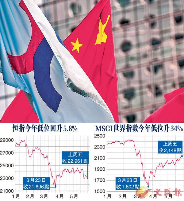 ■市場人士表示,中美角力再成大市焦點,若沒引來港股太大震盪的話,6月市況就要視乎人民幣匯價走勢。 彭博社