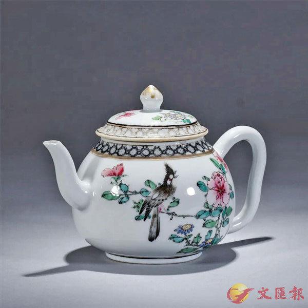 ■雍正 粉彩花鳥茶壺