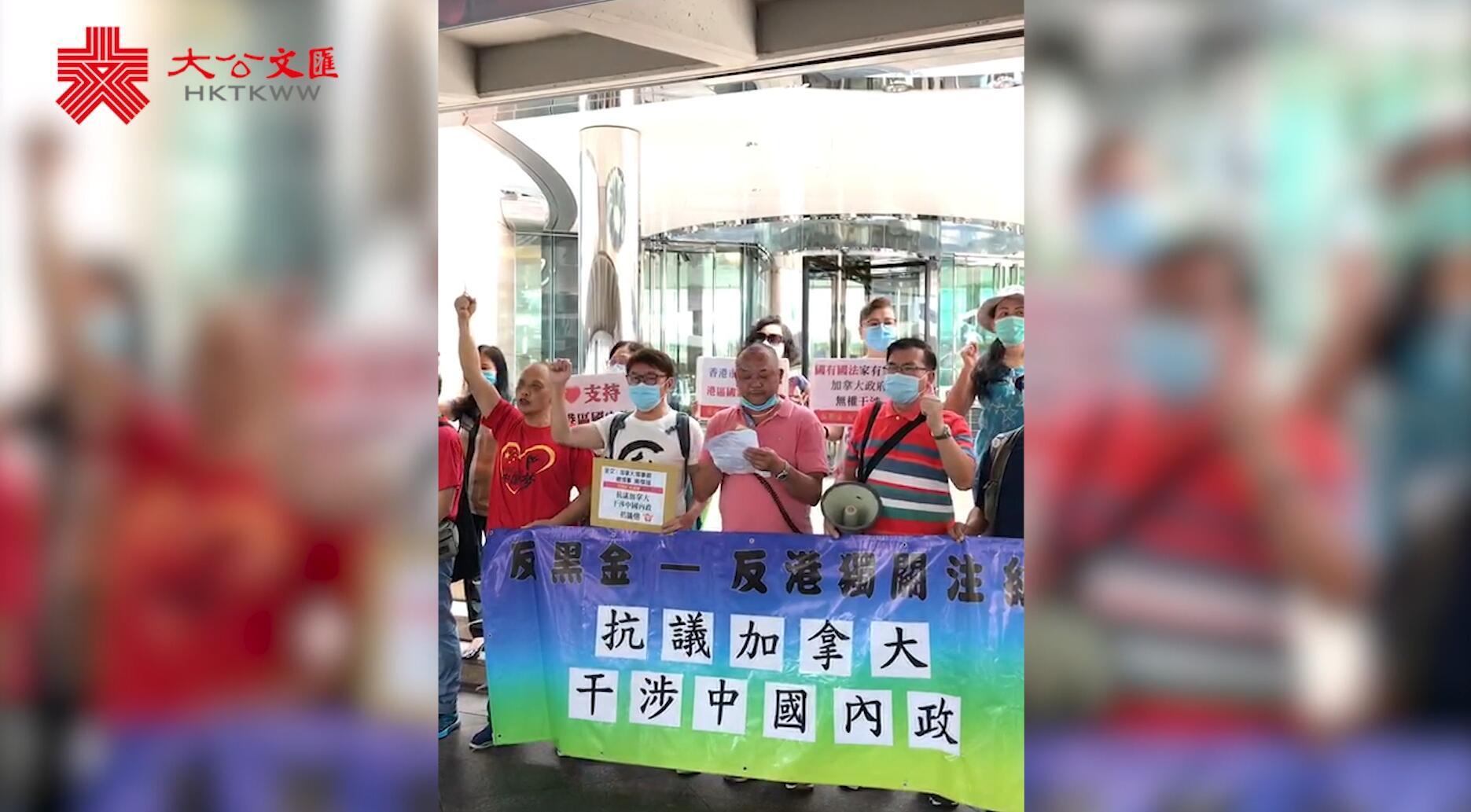 反黑金反港獨關注組抗議加拿大干涉中國內政