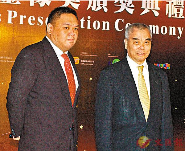 ■ 洪祖星和其兒子洪君毅(左)一直支持香港電影業發展。