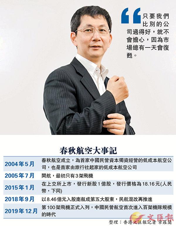 ■ 春秋航空董事長王煜。 香港文匯報上海傳真