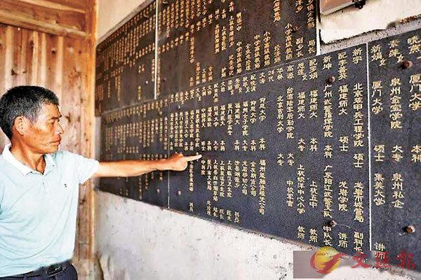 ■村民把博士、碩士及大學生的名字刻到宗祠牆上,並張貼錄取通知書複印件,以榜樣精神、家族文化激勵後來學子。 網上圖片