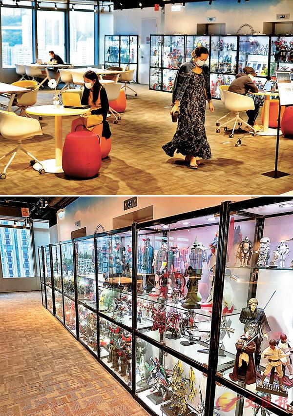 御一空間觀塘據點放了不少懷舊玩具陳列櫃,展示陳恩德的私人珍藏。    香港文匯報記者 攝