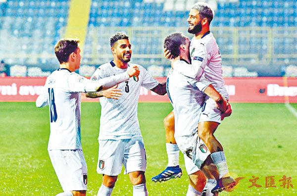 ■意大利以2:0擊敗波斯尼亞,取得歐國聯4強資格,兼豪取連續22場不敗。  法新社