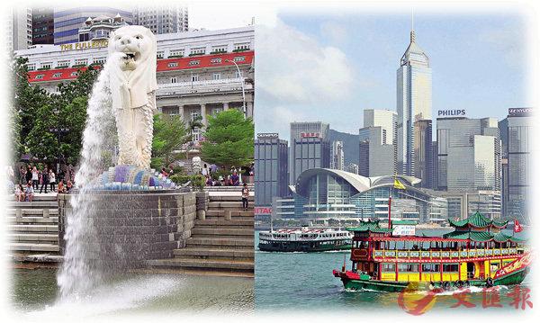 ■香港與新加坡的「航空旅遊氣泡」啟航日期延後兩星期。圖為新加坡與香港兩地景點合成圖片。中通社