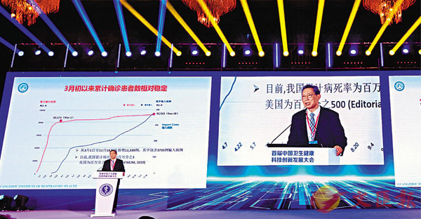 ■鍾南山在首屆中國�壎肭楛d科技創新發展大會上強調,香港疫情要控制,全民檢測是根本。 香港文匯報記者郭若溪  攝