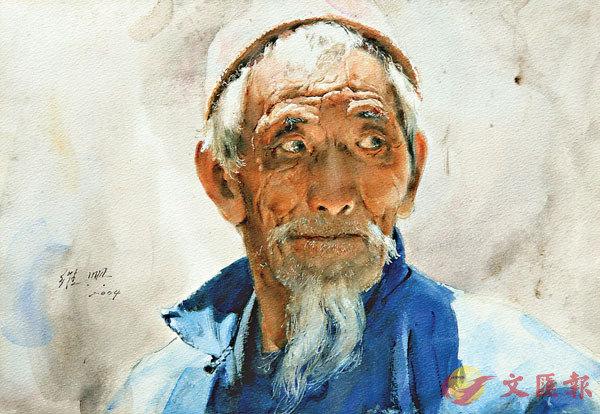 ■關維興最擅畫人物,《耄耋老人》抓住老者之神。 受訪人供圖