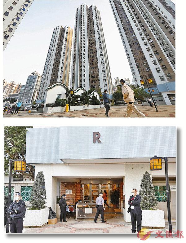 ●荃灣綠楊新�hR座18樓先後有4個單位有人確診。 香港文匯報記者  攝