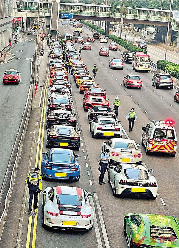 ●被警方截停的非法賽車,不少為林寶堅尼、法拉利等超級跑車。 警方圖片