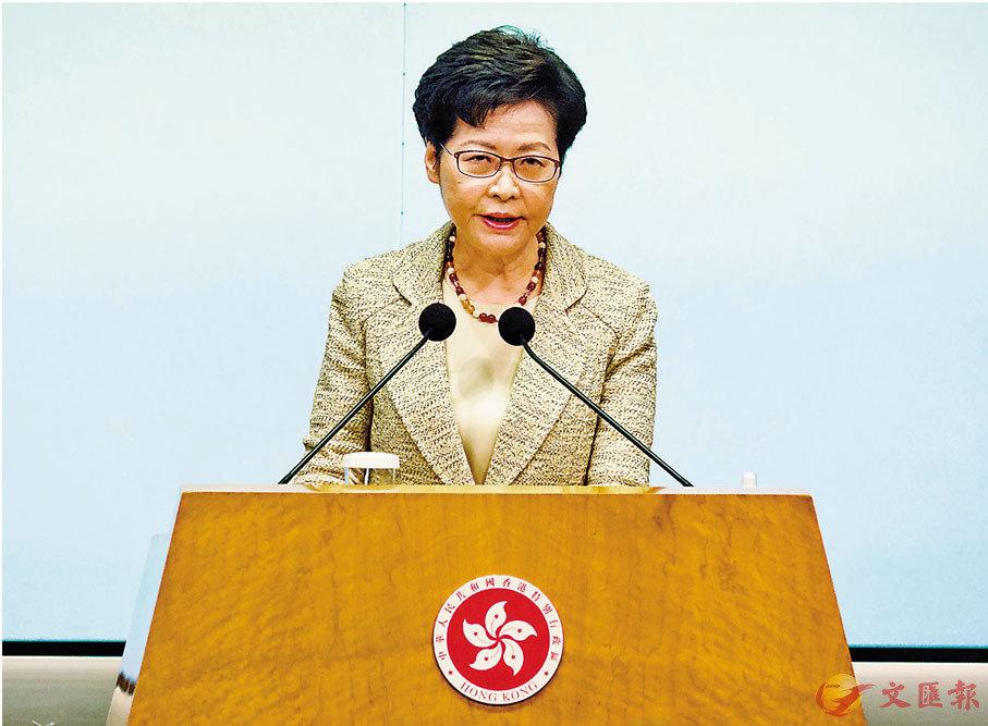 ●林鄭月娥指電檢修訂指引不會扼殺了香港創意產業的表達自由。 香港文匯報記者 攝